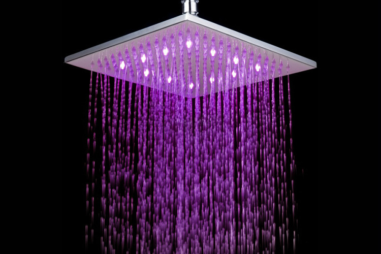 Fashion LED 10 inches Brass Square Overhead Rain shower nozzle