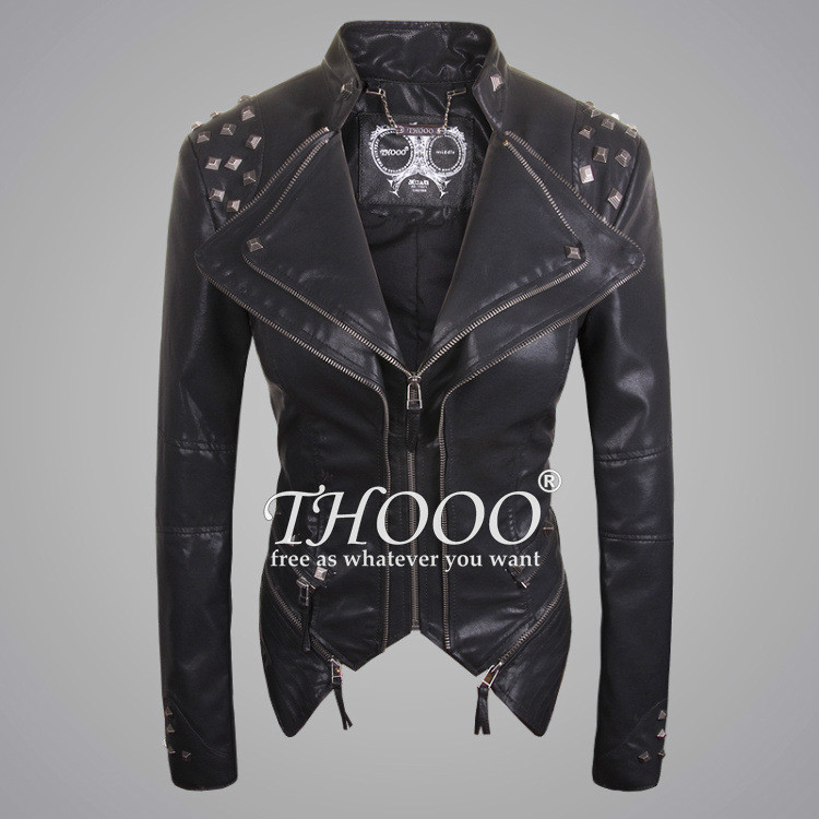 Rock Punk Rivets oem Studded Blazer Coat PU Leather Motorcycle Spiked Cropped Jacket