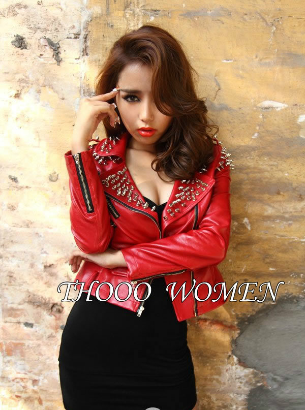 Women Rock red Punk Rivets Studded Blazer Coat PU Leather Motorcycle Moto Jacket