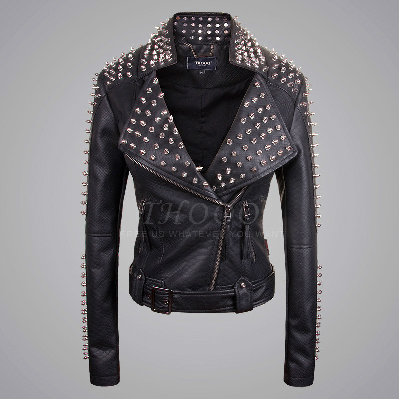 Metal rivet handmade serpentine pattern punk rivet leather clothing women's motorcycle slim outerwear female black