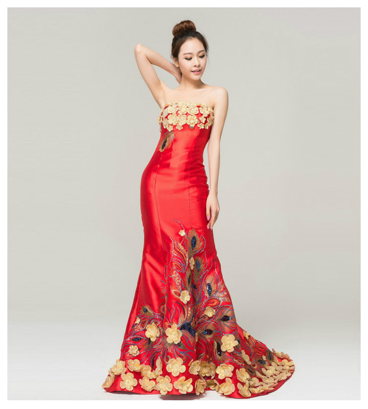 Handmade Backless Retro Elegant Satin Formal Evening Dress