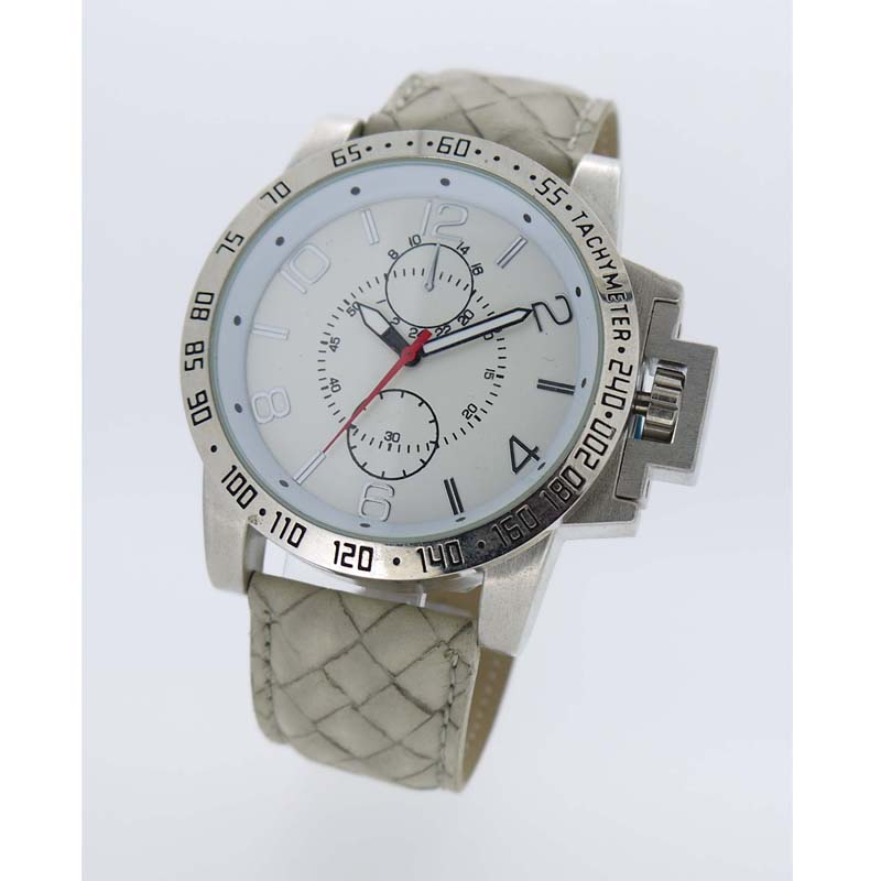 Round personality Water Resistant Quartz Movement Analog Watch with Faux Leather Strap