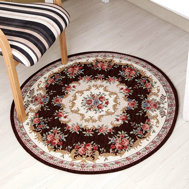 European classic round Chenille cotton yarn jacquard carpet mats