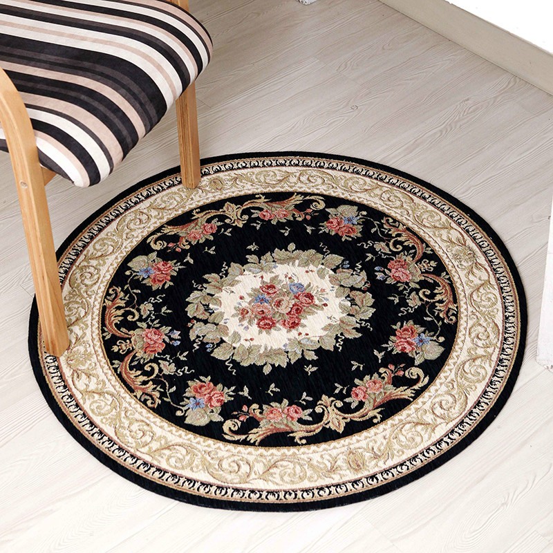 European classical round Chenille cotton yarn jacquard carpet mats