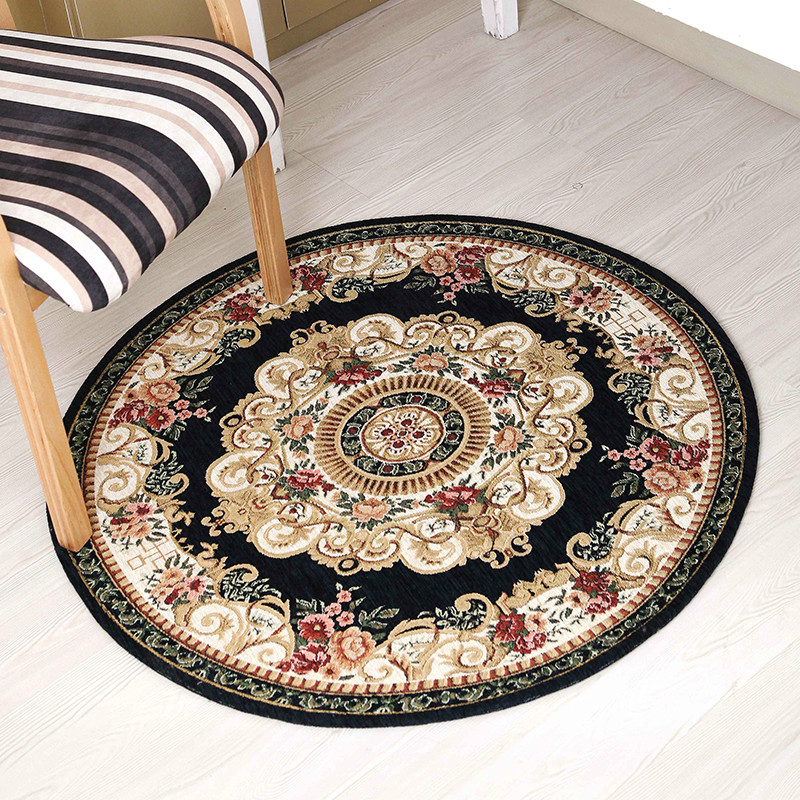 European style round living room coffee table carpet chenille yarn carpet