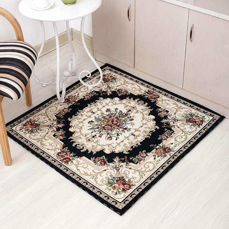 Square chenille yarn carpet living room coffee table carpet jacquard carpet