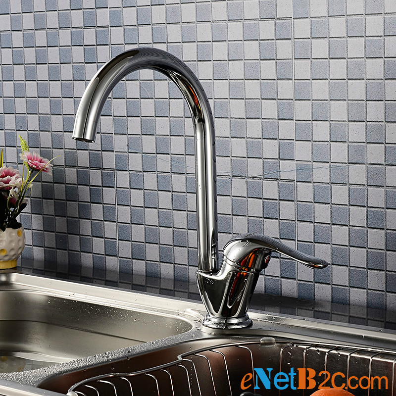 360 Degree Rotating Brass Kitchen Faucet Chrome Finish Cold and Hot Mixer Tap