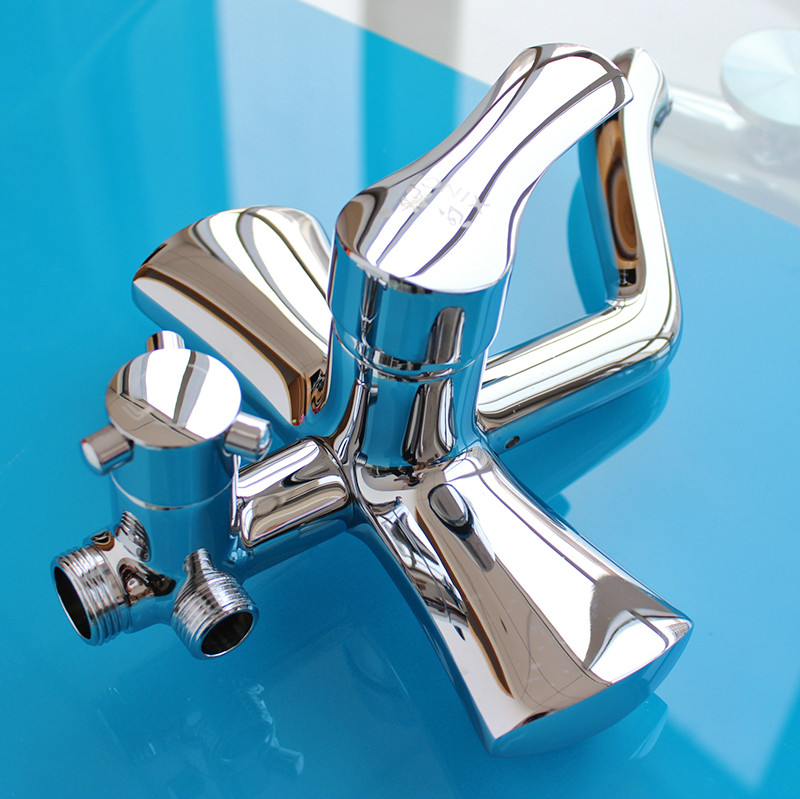 Fashion Chrome Finish Bathroom Shower Set Faucet 8 inch ABS Rainfall Shower Head