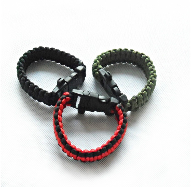 100pieces/lot Survival Bracelets Buckle with Whistle Outdoor Camping Kit Tool