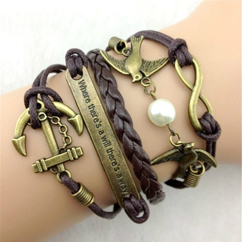 20PCS/LOT Braided Leather Cotton Rope Anchor Rudder Infinity Bracelet Alloy Jewelry