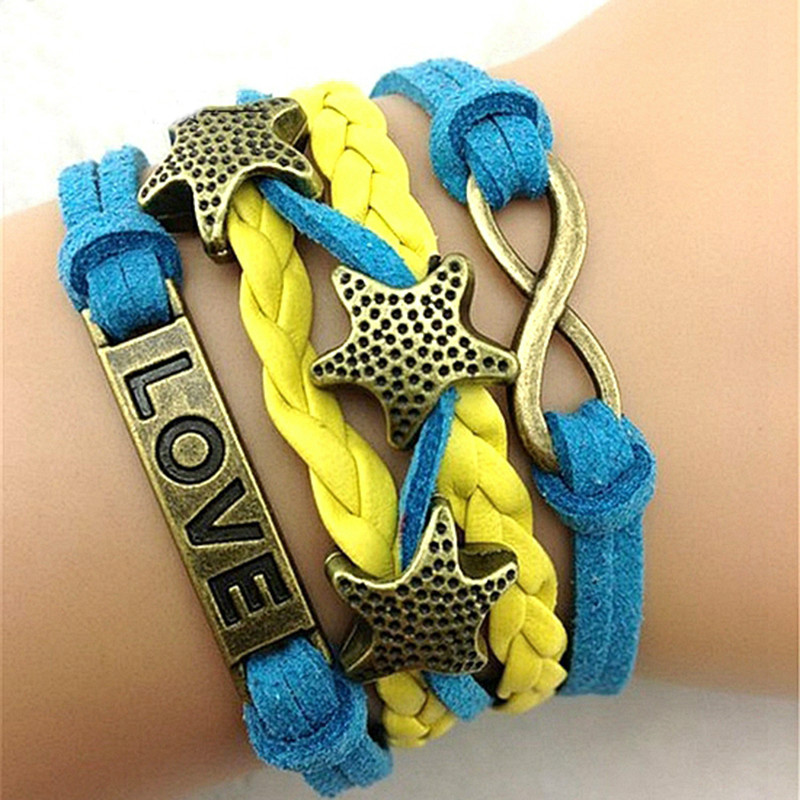 20PCS Variety Select 2014 new fashion Female Leather Bracelets jewelry High Quality Infinity Leaf Anchors