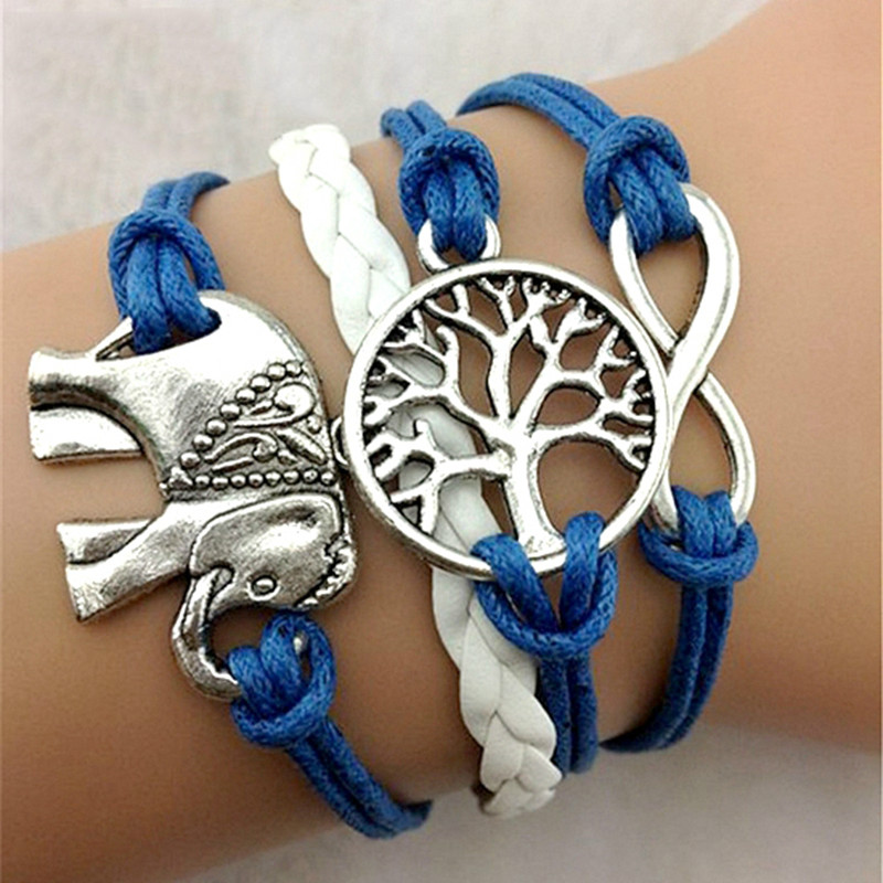 20pcs Rope Chain Vintage Braided handmade Leather Charms Bracelet bangle