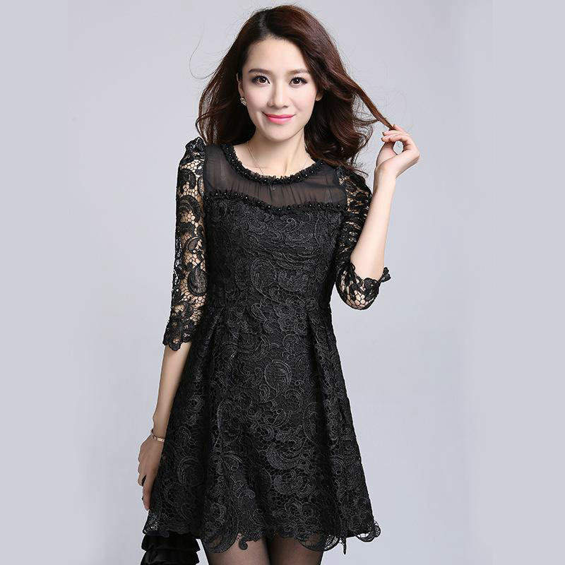 European Tassel Lace hollowed-out dress half sleeve print princess dress