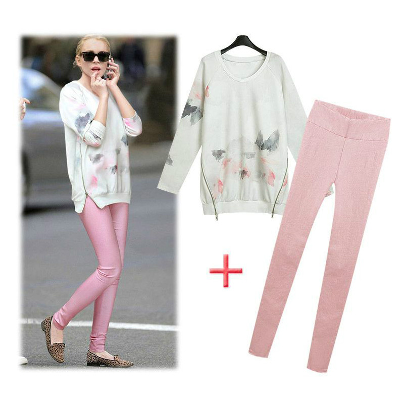 2014 Summer Women's New Arrival Chiffon Top Shirt Long Pants Women's Clothing Set