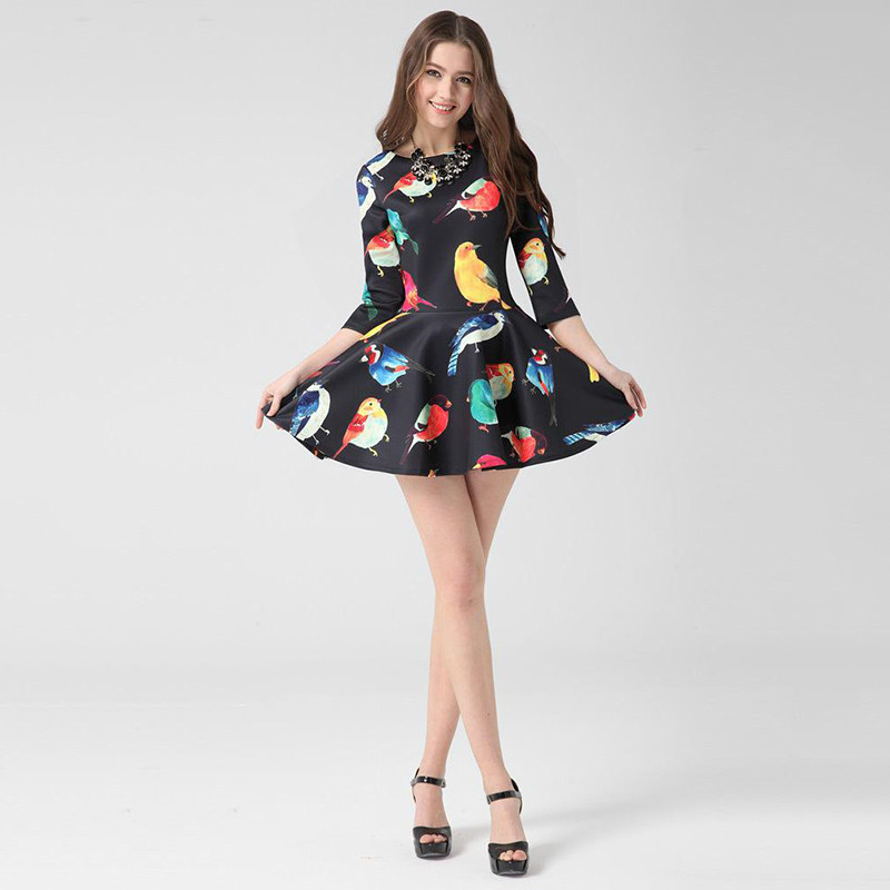 European Station 2014 New women dresses birds printed Floral Dress