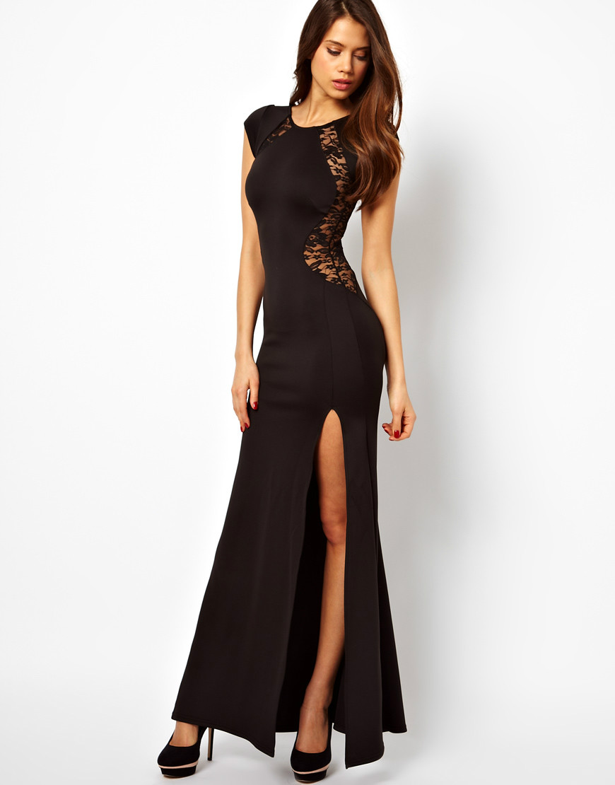 2014 Black Lace Evening party Long Dresses Bodycon Split Red brief Dress