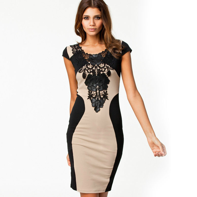 2014 Summer Women Elegant Dresses Embroidery Bodycon Wear Clothing Patchwork