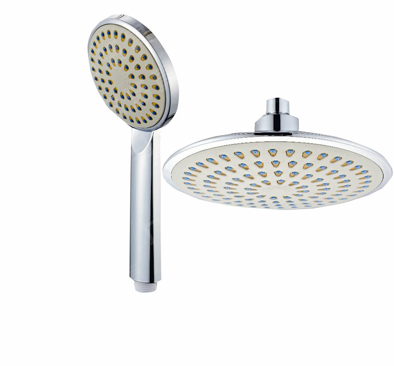 Chrome finish Stainless Steel 8 inch round top rain shower head and hand shower