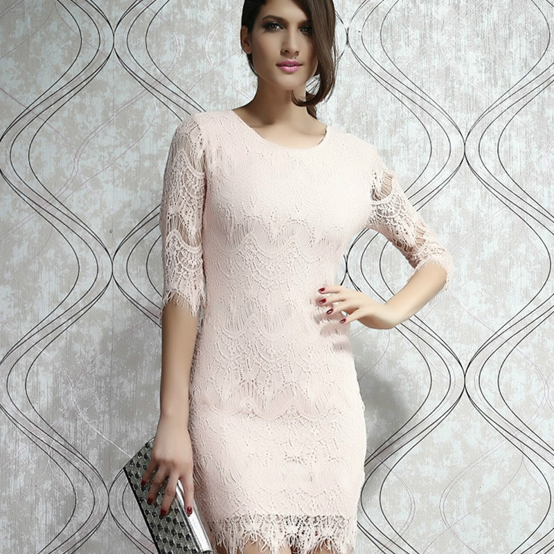 Free shipping 2014 new European and American fashion lace 7 points sleeve dress