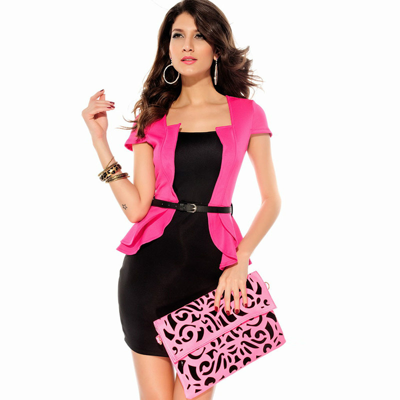 Free shipping 2014 new fake suit sexy ladies short-sleeved dress for women fashion models