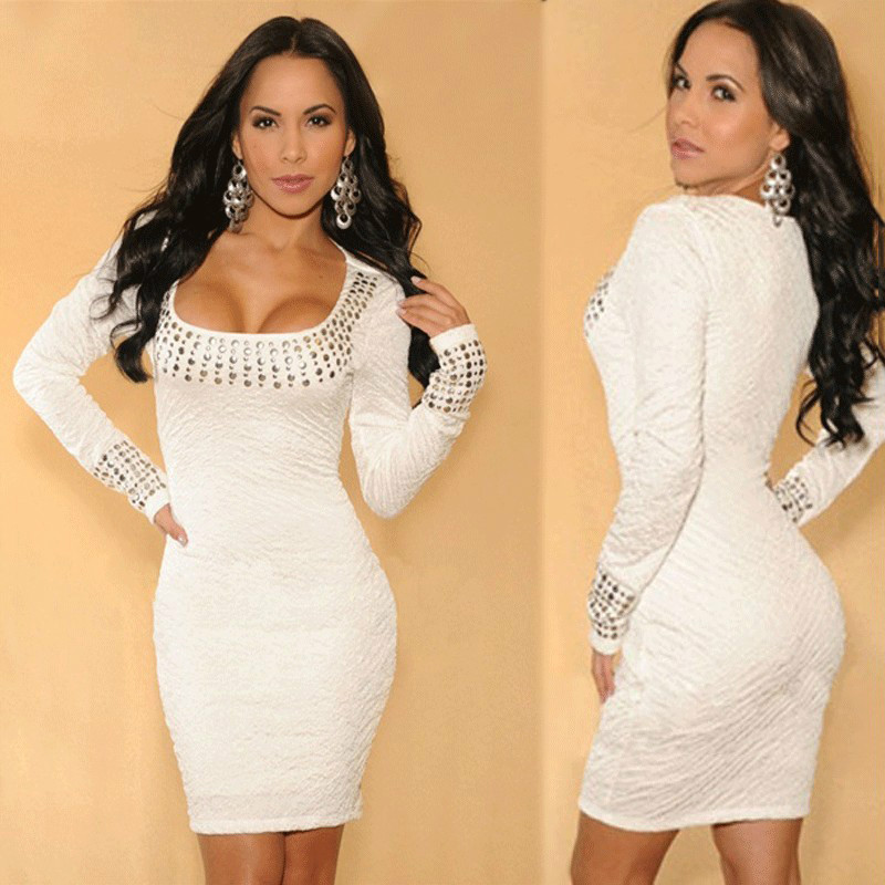 European and American long-sleeved dress sexy women's white diamond fold
