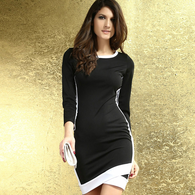 European and American fashion brand women long-sleeved round neck Slim package hip dress