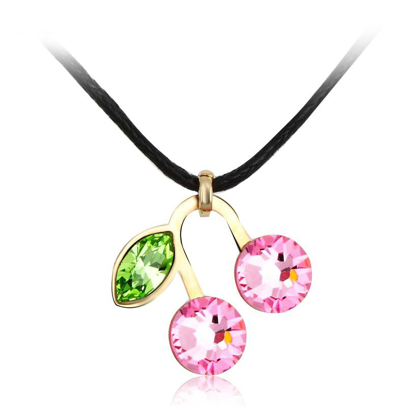 2014 new designer Beautiful Cherry shape crystal necklace for woman