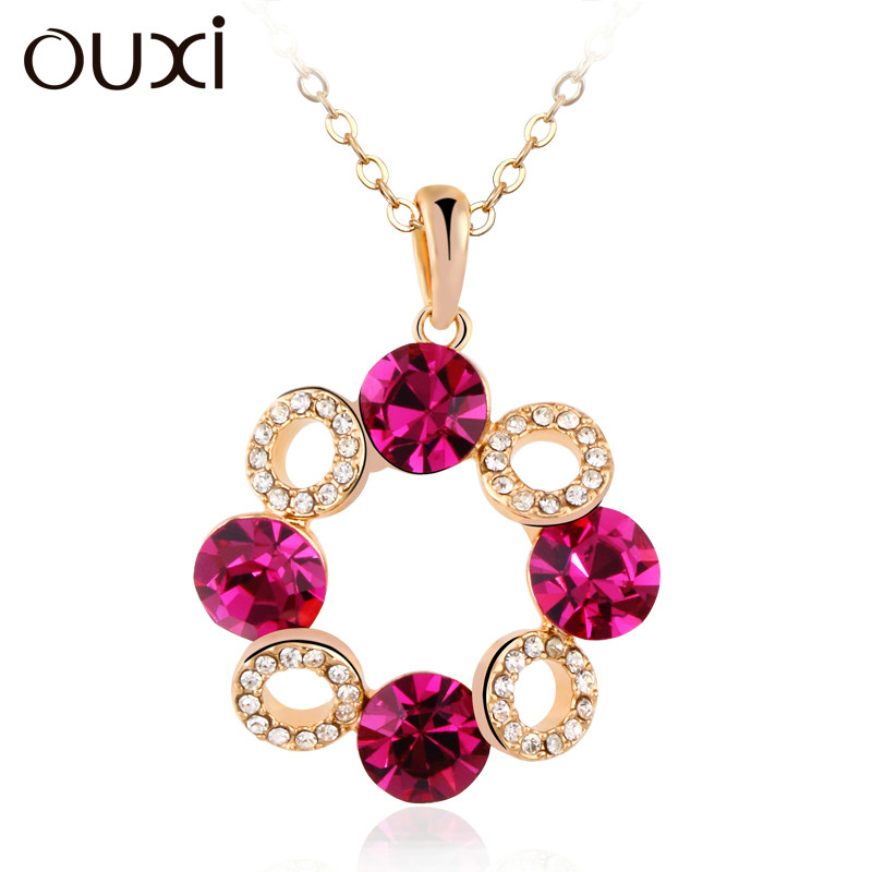 2014 free shipping,18k gold plated necklace Colorful crystal necklace free shipping!