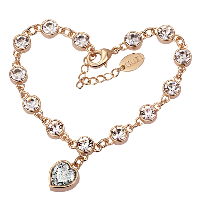 free shipping!2014 unique heart-shaped women's crystal bracelet