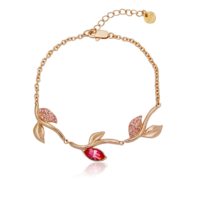 2014 new design elegant rose flowers crystal bracelet